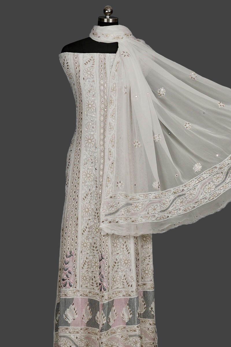 Semi stitched Anarkali with gota patti  and aari work