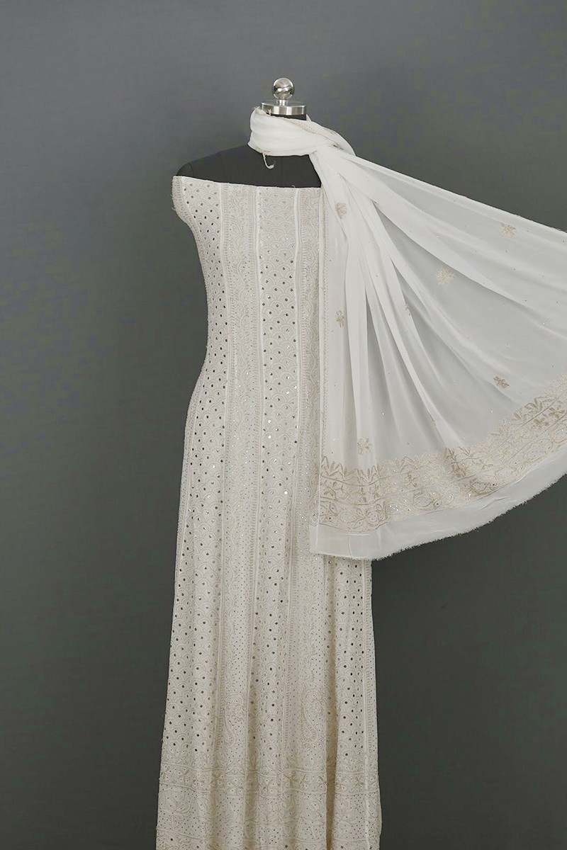 Fawn Resham thread Semi Stitched Anarkali with Dupatta