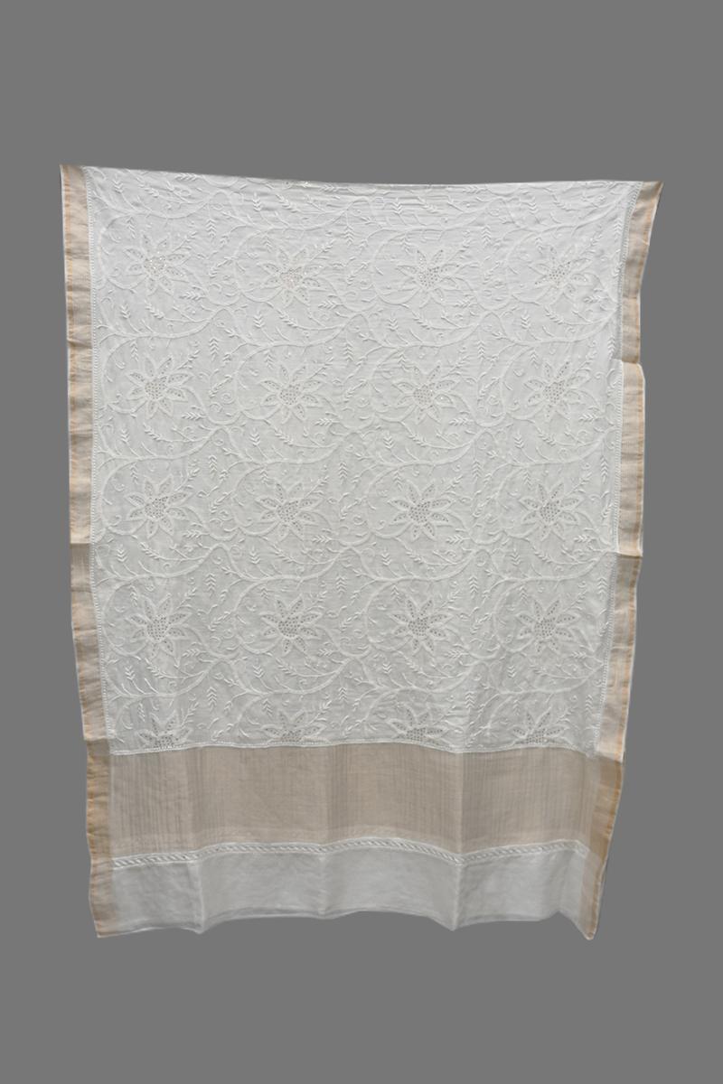 Cream Pure Tissue Chanderi Dupatta