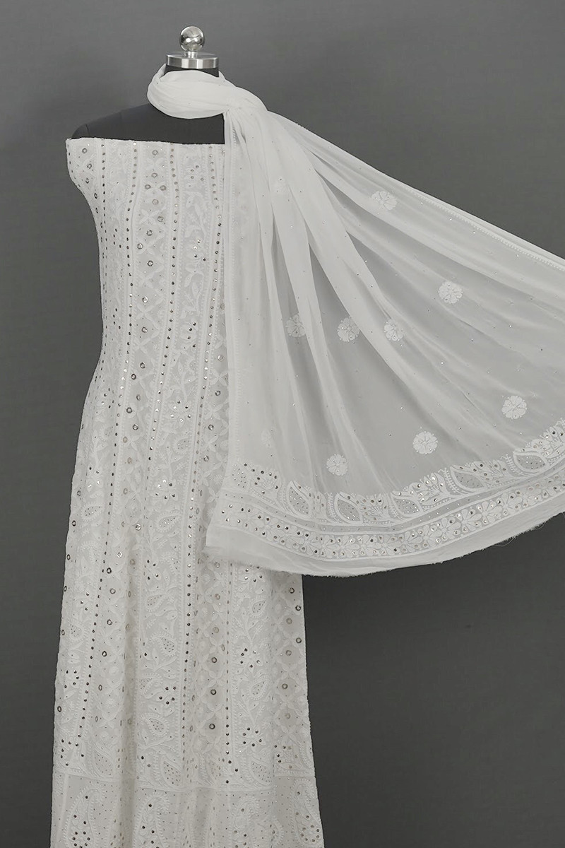 White  Semi Stitched Anarkali with Dupatta and Golden Ring Mukesh Work