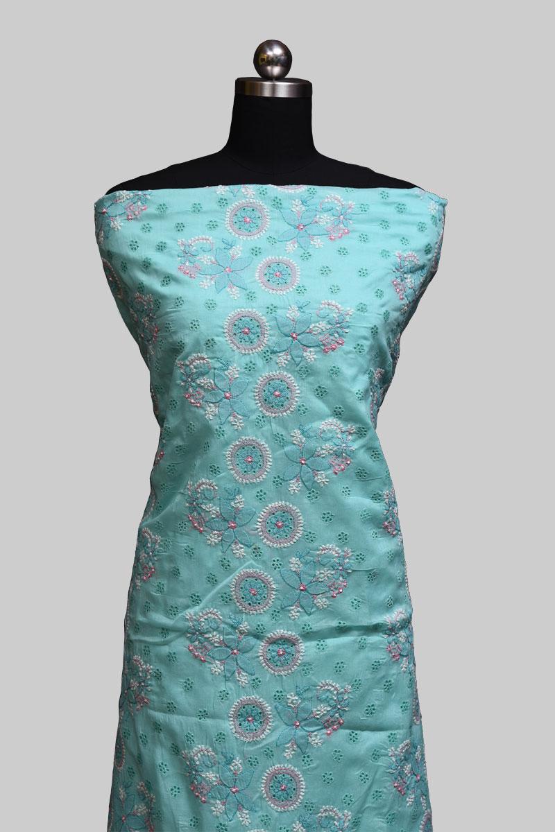 Aqua Green Cotton Full Suit
