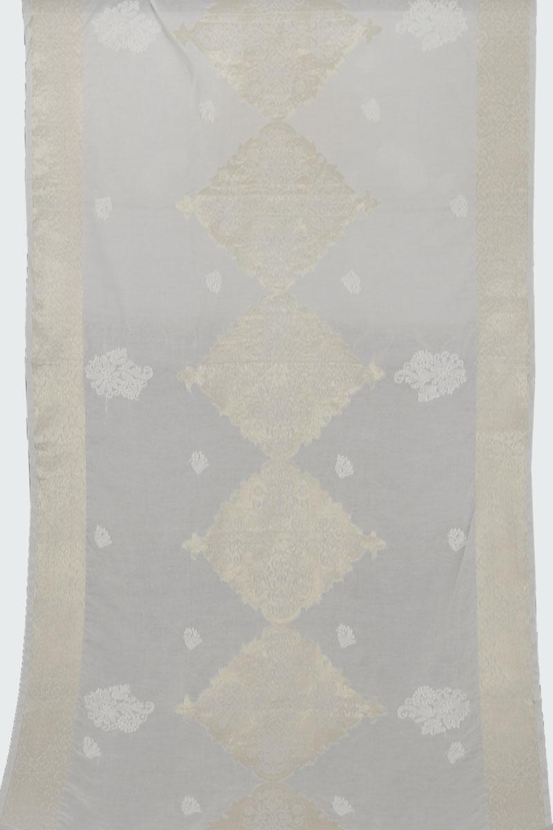 Off White Chanderi Dupatta with Banarasi Golden Work