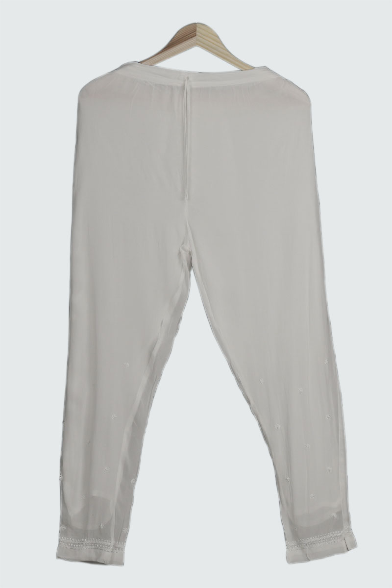 White Viscose Pant with Chikan Embrodiery