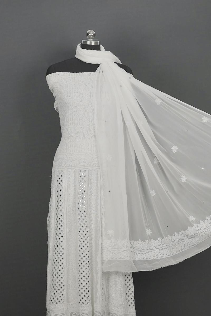 White Semi Stitched Anarkali with Dupatta