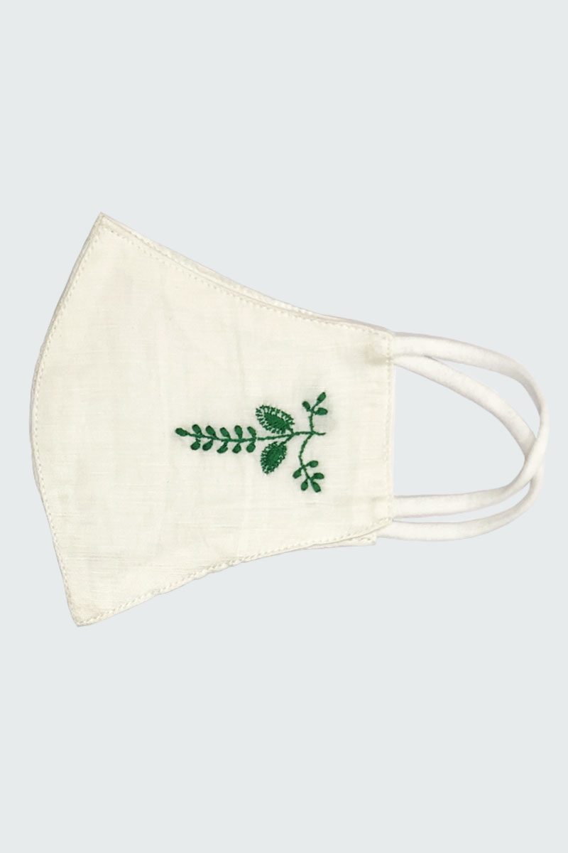 White Cottton Mask with Green Flower