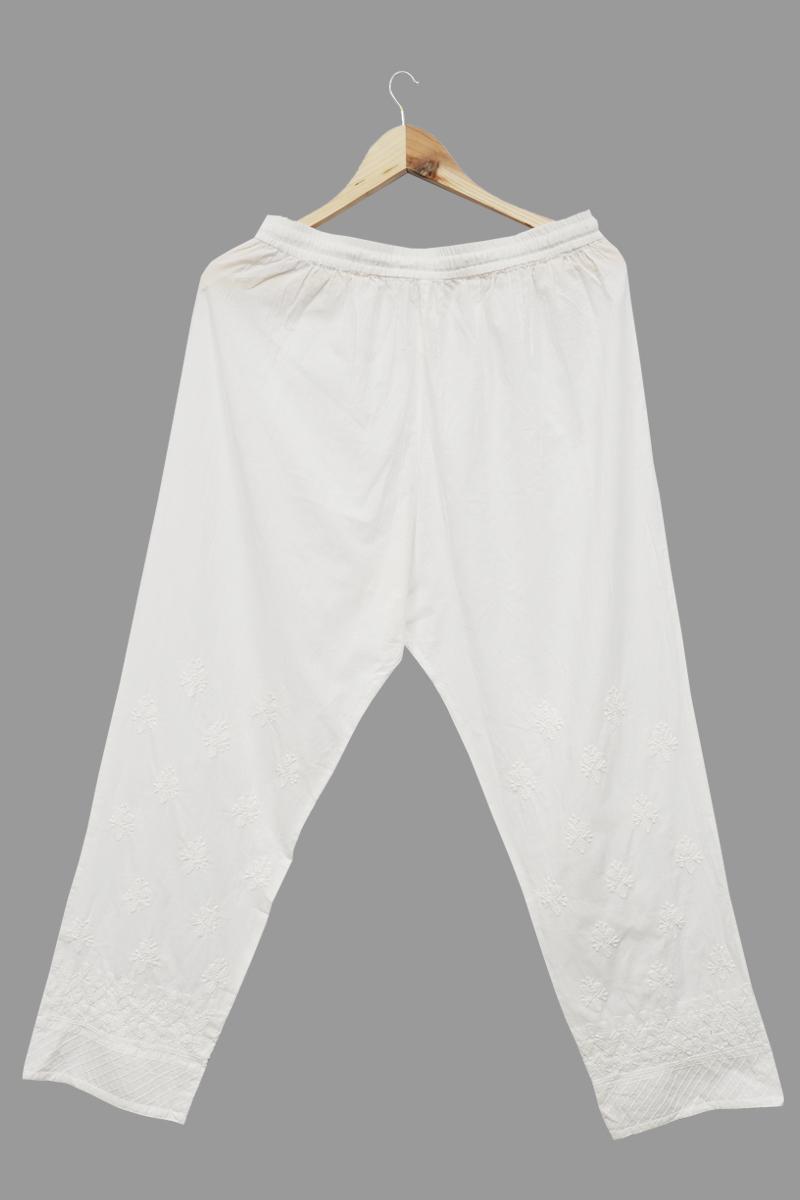 White Cotton Straight Plazzo