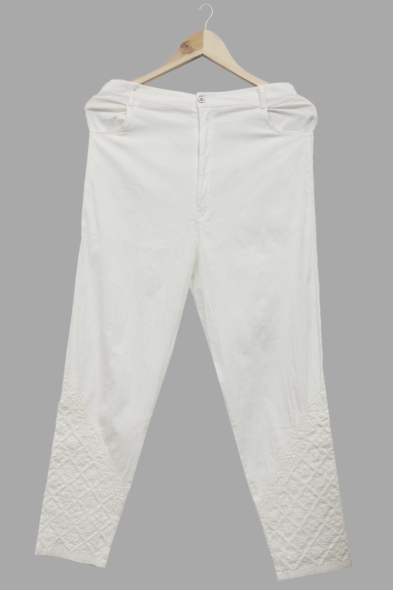 White Cotton Stretchable Pants