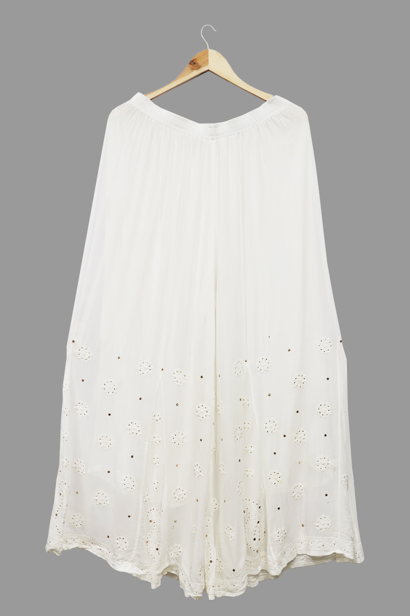 White Georgette Plazzo with Badla Work